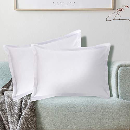 Viste tu hogar Pack 2 Fundas de Cojin 40x60 cm, Algodón y Poliéster, para Decoración de Hogar en Color Blanco Liso.