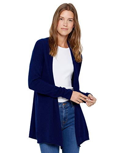 State Cashmere Lightweight Mid-Thigh Open Cardigan 100% Pure Cashmere Long Sleeve Sweater for Women (Medium, Navy)