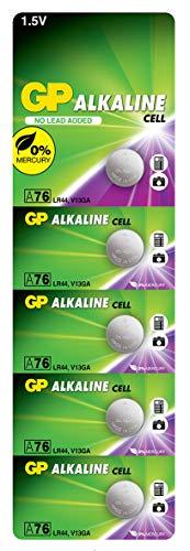 GP Extra LR44 Knopfzellen Alkaline, Batterien AG13 / A76 / L1154f, 1,5V (Spannung 1,5 Volt) 5 Stück Knopfbatterien quecksilberfrei (Original Blisterverpackung, einzeln entnehmbar)