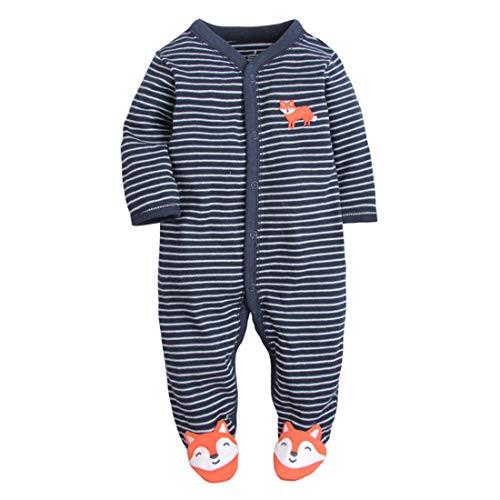 CARETOO Unisex Baby Schlafstrampler Bärchen, Baumwolle Pyjamas Cartoon Strampler, Königsblau, Gr.-6-9 Monate/Etikettengröße- 9M