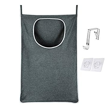 KINGSUSLAY Hanging Laundry Hamper Bag XL-Large  35L x 22W Inch  Over Door Laundry Hamper and Hanging Laundry Basket Bag for Holding Dirty Clothes,Space Saving Hanging Laundry Bag  Heather Grey