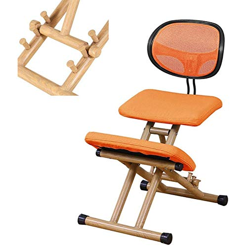 ZSHYP Knee Stool Ergonomic with Back Support, Cushions Kneeling Chair Adjustable Height Office Chairs Neck Pain Relieving,Orange