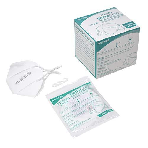 WottoCare Masken FFP3 NR CE 2163, 20 Masken im Einzelbeutelverschluss, homologiert und zertifiziert, EN 149:2001+A12009. Haken zur Kopfverstellung. Hohe Schutzart BFE ≥99%.