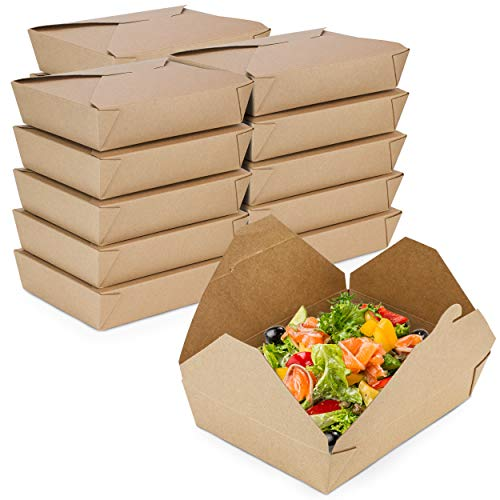 [50 Pack] 49 oz 8.5 x 6 x 2 Disposable Paper Take Out Food Containers, Microwaveble Folding Natural Kraft to Go Boxes #2