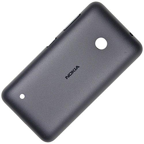 Original Akkudeckel dunkel grau für Nokia Lumia 530 und 530 Dual Sim inklusive Ein/Aus und Laut/Leise Taste