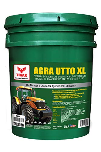 Triax Agra UTTO XL Synthetic Blend Tractor Transmission and Hydraulic Oil, 6,000 Hour Life, 50% Less wear, 36F Pour Point, Replaces All OEM Tractor Fluids (5 Gallon Pail)