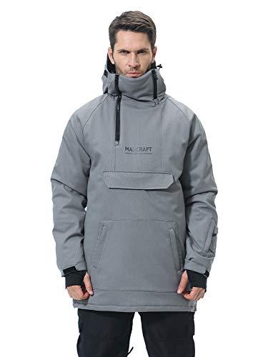 SNBOCON Womens Snowboard Jacket Winter Waterproof Warm Ski Snow Outwear Insulated Winter Hooded Raincoat(M,Grey)