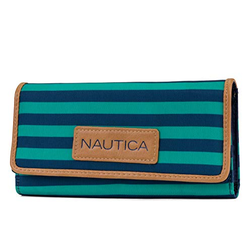 Nautica Women's Perfect Carry-All Money Manager RFID Blocking Wallet Organizer, Spectra Green