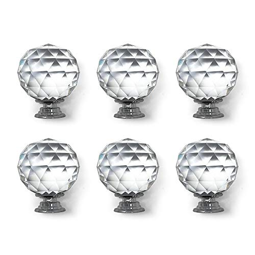 Isaac Jacobs Round Ball Shape (53 MM) Crystal Knobs Set, Cabinet Knobs with Screws, Drawer Pulls, Glass for Dresser, Bathroom, Bedroom, Kitchen, Living Room & More (6, Silver Base)