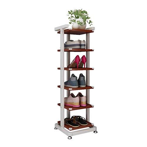 Zapateros 6 Niveles Zapateros de metal Organizador de zapatos de gran capacidad Estante de madera para zapatos Pasillo / Sala de estar Tablero de partículas Soporte de flores, Blanco, Altura 92cm Pasi