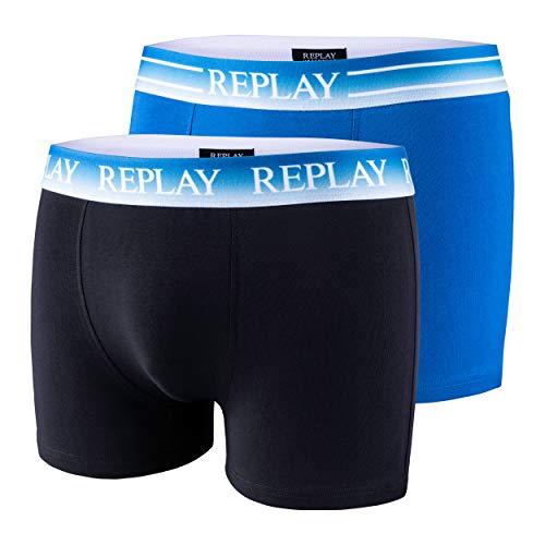 2er Set Boxershorts Herren Replay Unterhose eng anliegend (Cobalt Blue/Black, XL)