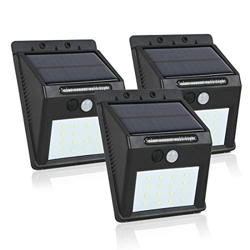 sourcing map 3 Pcs LED Lumière Solaire PIR CDS Motion Sensor Lampe 16 LEDs 80 Lumens Étanche Sans Fil pour Passerelle Jardin Cour