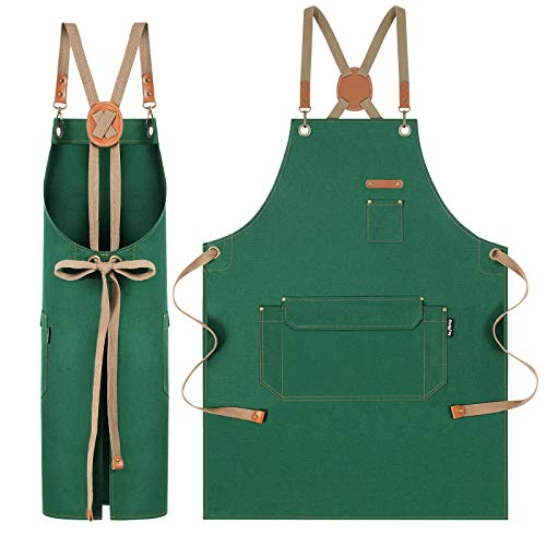 RockyToy Water Resistant Apron with Pockets Cotton Canvas Apron for Artists Painting Kitchen Cooking for Men and Women Adjustable Size SXXL Green