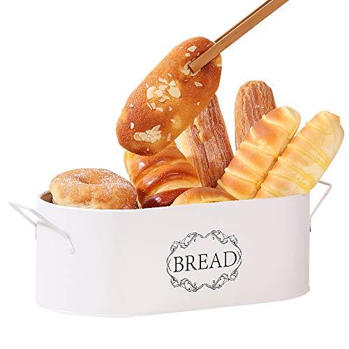 Coralov Brotkasten aus Metall mit Bambus Deckel und Toasterzangen Brotdose, Brotbox mit Luftzirkulation für langanhaltende Frische 40 x18 x12cm
