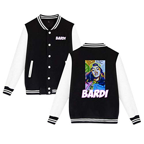 Baseball Uniform Jacket Sport Coat, Cardi Bardi Gang B Cotton Sweater for Women Men Boy Girls Black