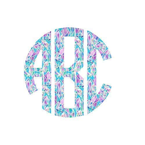 Pattern Circle Monogram Limited lowest price time trial price Initial Decal Sticker Viny Monogrammed