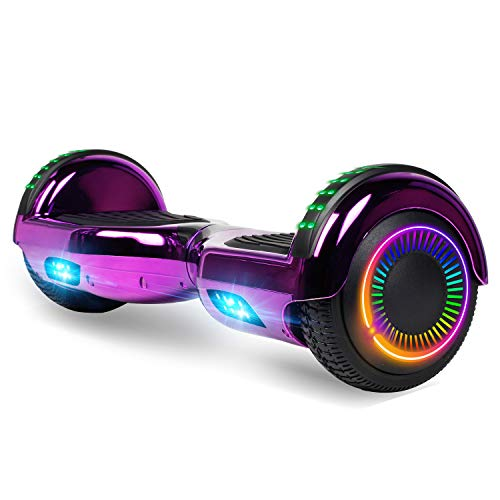 "Felimoda Hoverboard, 6.5"" Self Balancing Hoverboard with Bluethooth and LED Light for Kids & Adult, UL2272 Certified (Chrome Purple)"