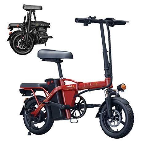 Leggero 250W elettrico pieghevole Pedal Assist E-Bike WithRemovable impermeabile e antipolvere 48V 6Ah-36Ah batteria al litio, adatto for gli adulti, i pendolari, Città. ( Color : Red , Size : 36AH )