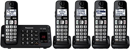 Panasonic KX-TGE445B Cordless Phone with  Answering Machine- 5 Handsets