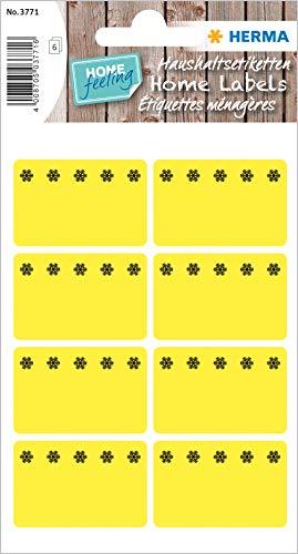 HERMA 3771 Gefrieretiketten bis zu -30°C, gelb, 40 x 26 mm, selbstklebende Tiefkühletiketten zum Beschriften für Büro, Küche, Haushalt und Marmelade, 48 kleine Haushaltetiketten