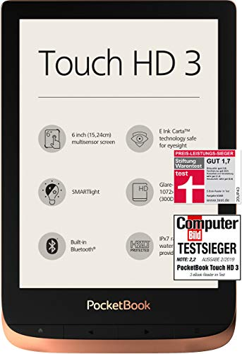 PocketBook e-Book Reader 'Touch HD 3' (16 GB Speicher; 15,24 cm (6 Zoll) E-Ink Carta Display; SMARTlight; Wi-Fi; Bluetooth) in Kupfer