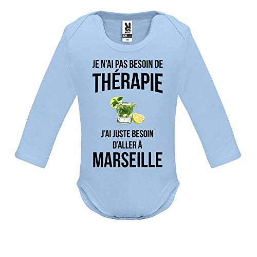 LookMyKase Body bébé - Manche Longue - Je n AI Pas Besoin de Therapie j AI Juste Besoin d Aller à Marseille - Bébé Garçon - Bleu - 9MOIS