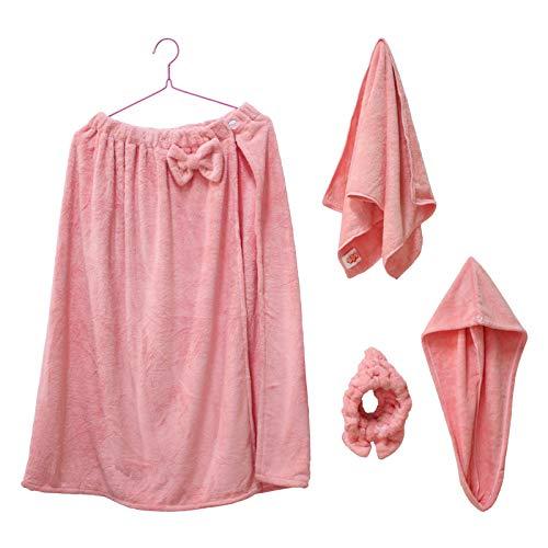 Quanerba Juegos de Toallas de baño para Mujer, Toalla de Sauna +Toallas para Secar el Pelo +SPA Hairband +Toalla de Mano, Suave Microfibra Secado Rápido Coral Fleece Toallas (Rosa)