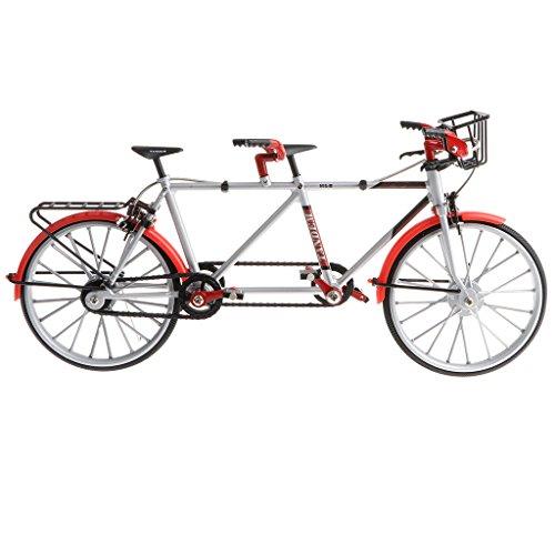 Homyl 1:10 Miniatur Diecast Tandem Fahrrad Bike Verkehrsmittel Modell für Tischdekoration, Sammlerstück, Geschenke - Rot