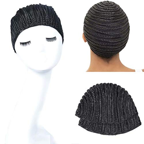 2pcs/lot Cornrow Braided Wig Caps for Making Wigs with Clips Inside, Stretchy Braid Cap for Easier Sew in Crochet Braids, Sewing Cap for Wigs and Hair Weave