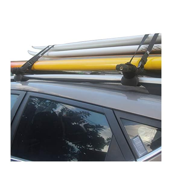 OCEANBROAD Roof Rack CargoTie Down Strap 2 Pieces Pack for Surfboard SUP Board Kayak Canoe 1 inch 14 feet, 1.5 inches 14… 7 SPECIFICATIONS: Set of 2 straps, strap width 1 inch, strap length 14 feet, cam buckle width 1.5 inches. SUPERIOR STRENGTH: Durable UV resistant polypropylene with reinforced stitching, heavy duty anodized zinc alloy cam buckle. VERSATILE: Suitable to secure surfboards, SUP boards, canoes and kayak etc. to your car roof rack.