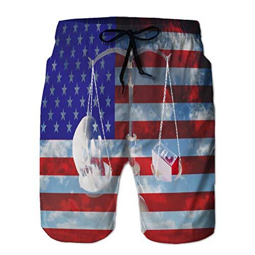 vbndfghjd Shorts de Playa para Hombre Shorts de baño de Secado rápido Balanza Americana Beautiful Happy XL