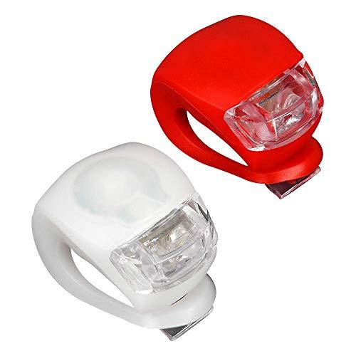 HEITECH LED Klemmlichter 2er Set - Klemmlicht regenfest mit heller LED & 3 Leuchtfunktionen inkl. Batterien - Flexible Silikon Klemmleuchte für mehr Sicherheit