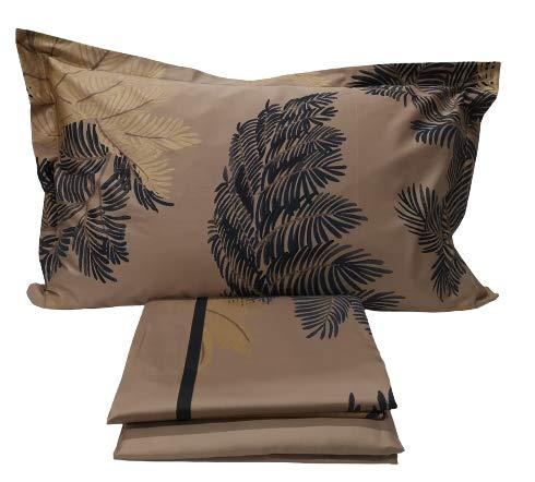 Somma - Juego completo de sábanas VANITAS para cama de matrimonio, Maxi 270 x 290 cm, de raso de puro algodón, col. galleta