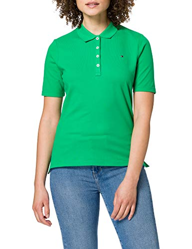 Tommy Hilfiger TH Essential Reg Polo SS Camiseta, Verde (Primary Green), XS para Mujer