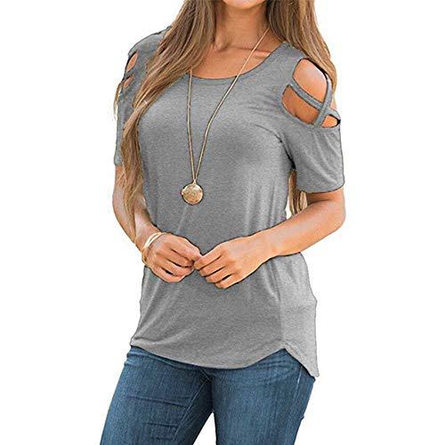 Frauen Sommer Herbst Lange Kurzarm Riemchen Riemchen kalte Schulter T-Shirt Tops T-Shirt Frauen Kurze O-Ausschnitt Top T-Shirts
