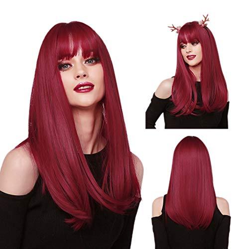 obtener pelucas mujer pelo natural con flequillo rojo on-line