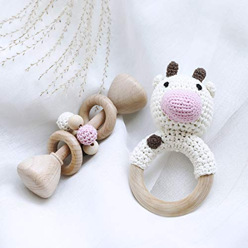 Montessori Inspired Wooden Handmade Baby Toy Crochet Pattern Cow Teething Ring Simple Gender Neutral Baby Toy - White