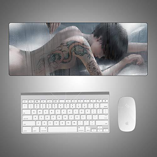ZHANGSBD Mauspad Speed Gaming Padmouse Large Wassertropfen Animation Tattoo Mädchen Mauspad Gummi Laptop Lockedge 800x300mm Tastatur Pad Gamer Spielmatten Schreibtisch Big Mousepad Schreibtischunterla