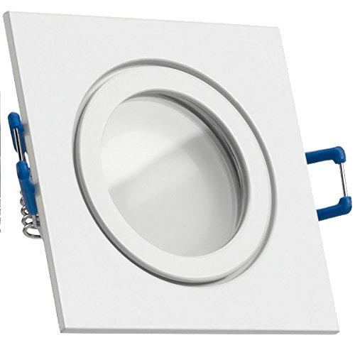IP44 LED Einbaustrahler Set Weiß mit LED GU10 Markenstrahler von LEDANDO - 5W - warmweiss - 120° Abstrahlwinkel - Feuchtraum/Badezimmer - 35W Ersatz - A+ - LED Spot 5 Watt - Einbauleuchte eckig