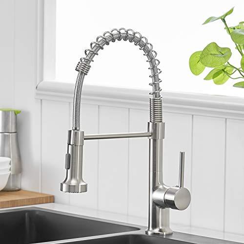 GIMILI - Rubinetto da cucina estraibile con doccetta, miscelatore monocomando per lavabo, in nichel spazzolato
