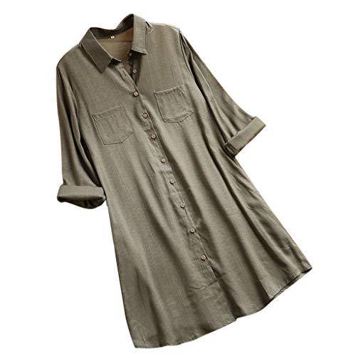 VEMOW Herbst Frühling Sommer Elegante Damen Frauen Stehkragen Langarm Casual Täglichen Party Strand Urlaub Lose Tunika Tops T-Shirt Bluse(Y2-c-Armeegrün, 40 DE/M CN)