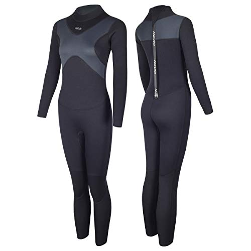 Hevto Wetsuits X Women 3mm Neoprene Full Scuba Diving Suits Surfing Swimming Long Sleeve Keep Warm Back Zip (X-Women Gray, XXL)