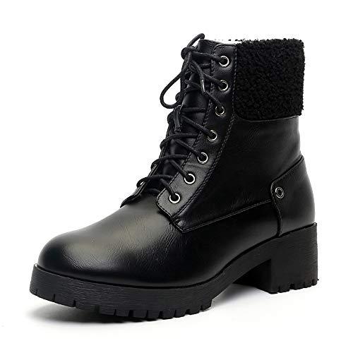 QHGao Lace-Up Britse stijl korte laarzen, stijlvolle ronde teen lage hakken laarzen, delicate microvezel bovenste, modieus en comfortabel zonder saaie voeten, gemakkelijk aan en uit te trekken