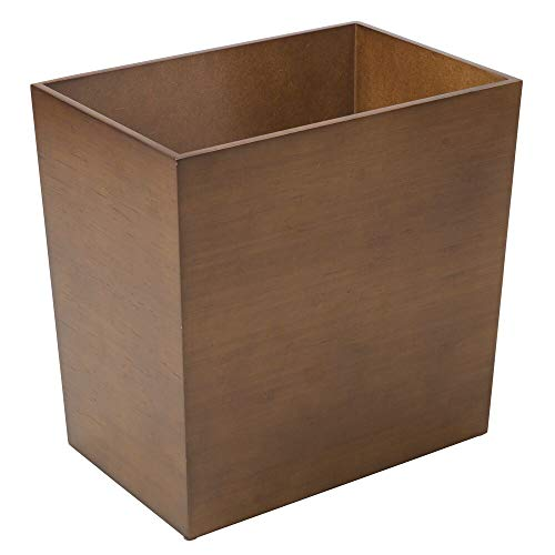 mDesign Rectangular Narrow Wood Trash Can Wastebasket Small Garbage Container Bin for Bathrooms Kitchens Home Offices Craft Rooms  Bamboo Veneer Brown