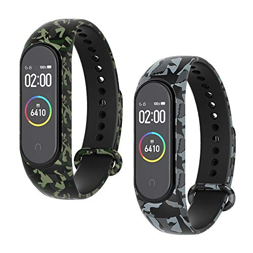 WD&CD Armband kompatibel mit Xiaomi Mi Band 4/3 Weiches Silikon (2 Stück, Camouflage Grün + Camouflage Grau), Verstellbare Fitness Armband kompatibel für Frauen männer