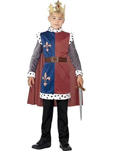 Smiffys Costume roi Arthur médiéval, Rouge, avec tunique, cape et couronne