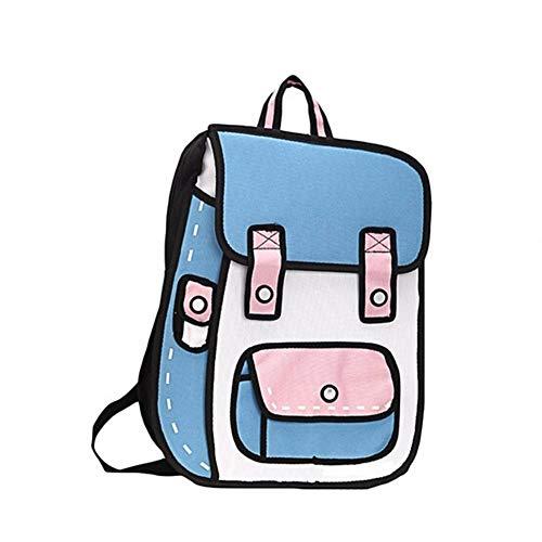 Oinna 1 bolso de cómic bidimensional, bonita mochila escolar tridimensional 2D, mochila creativa 3D.