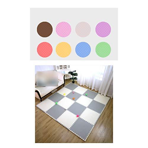 LXZFJW Baldosas de espuma entrelazada multiusos con espuma EVA entrelazada azulejos gris+blanco 60 × 60 × 1,2 cm, 8 unidades