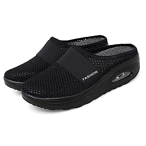Newly Upgraded Women Orthopedic Comfy Premium Slippers, Air Cushion Slip-On Walking Shoes,for House Shoes Indoor Outdoor (Black,42)
