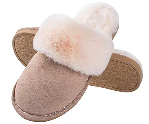 Pantofole Scamosciate da Donna Interne Casa Morbida Autunno Inverno Memoria Schiuma Pavimento Marrone chiaro EU 36.5-38 (Sole Tag Size 40- 41)